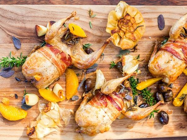 Roast quail with pancetta