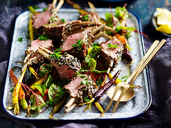 Spice-crusted lamb racks and roasted carrots