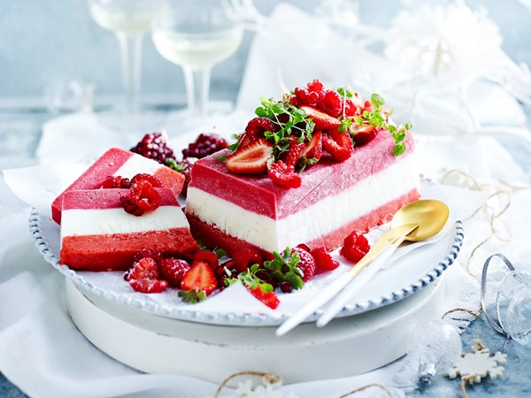 Raspberry, yoghurt and strawberry terrine with berry and mint salad