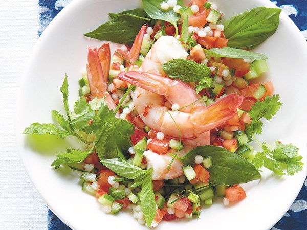 Prawn salad with pearl couscous