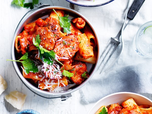 Rigatoni with arrabbiata and  chorizo sauce