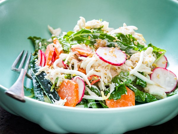Pickled summer vegetable salad with crab, sesame & sprouts