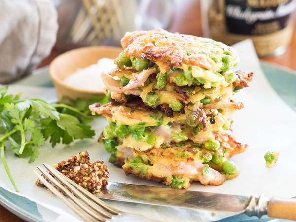 Ham, pea & parsley fritters