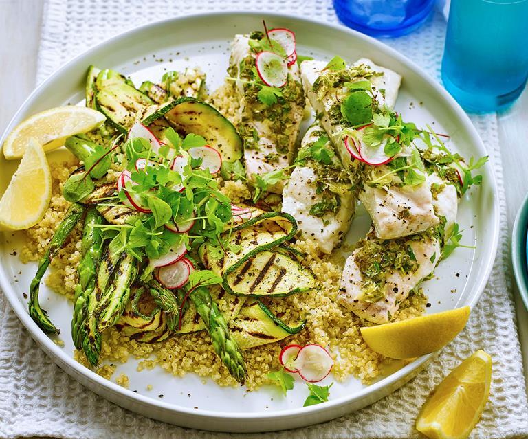 Lemon Herb Fish With Quinoa Salad Food To Love