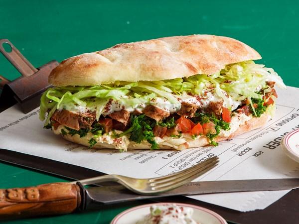Chicken kebab sandwich