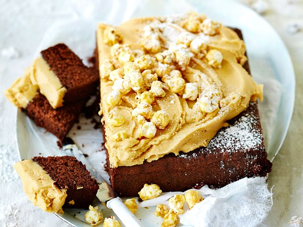 Popcorn and peanut butter chocolate cake