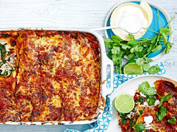 Chicken, kale and black bean enchiladas