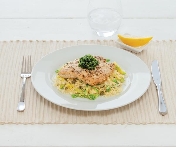 Pan fried fish with lemon and garlic couscous recipe ...