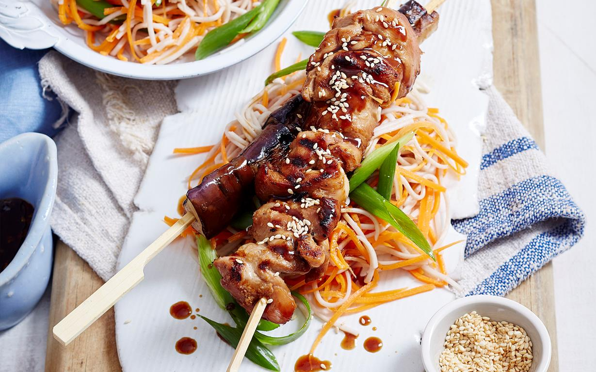 Yakitori chicken and eggplant skewers recipe food to love yakitori chicken and eggplant skewers be the first to rate this recipe forumfinder Images
