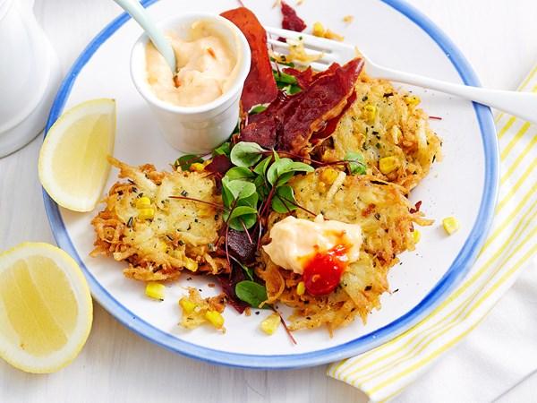 Potato and corn rostis with chilli aioli