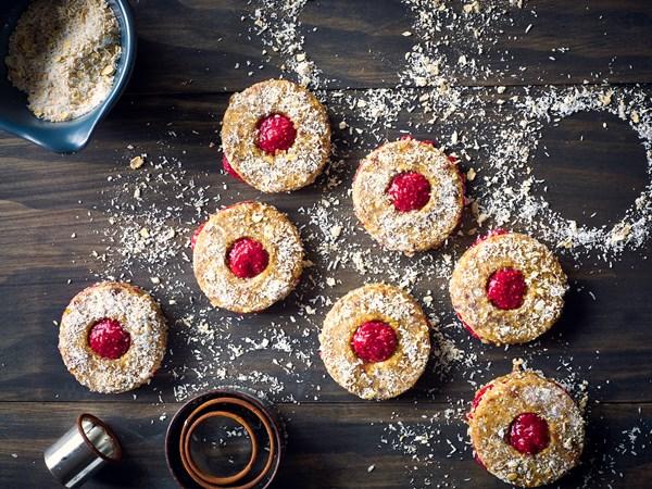 Megan May's shrewsbury biscuits with raspberry & strawberry jam