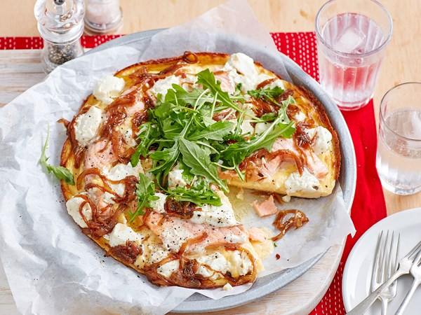 Salmon, caramelised onion and goat's cheese frittata
