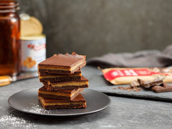 Salted caramel chocolate slice