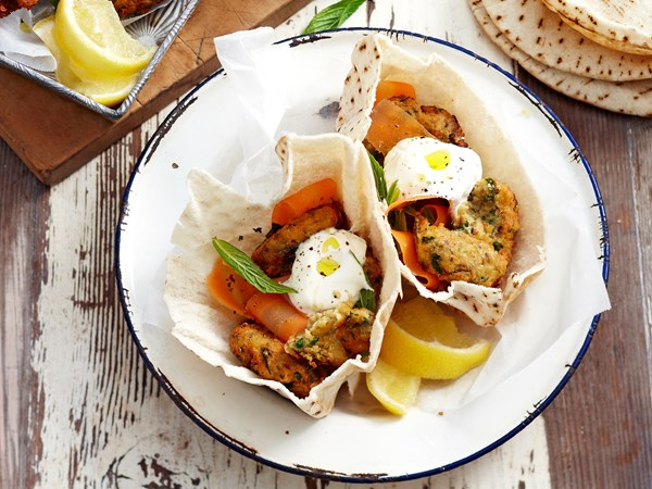 Tasty chickpea fritter pita pockets