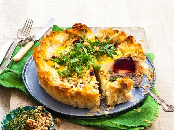Beetroot, cheese and walnut tart