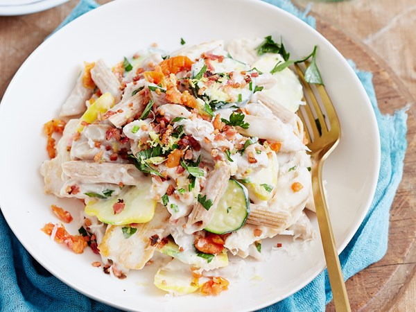 Creamy white bean and chicken penne