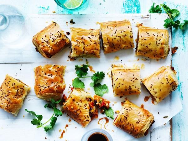 Spicy kumara sausage rolls