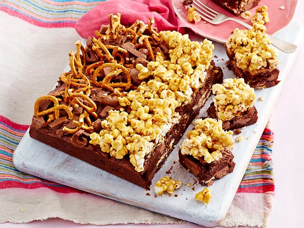 Popcorn and pretzel triple chocolate brownies