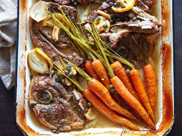 Slow-cooked lamb chops, lemons and capers