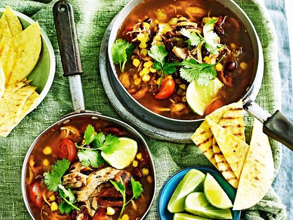 Chicken, chorizo and black bean soup