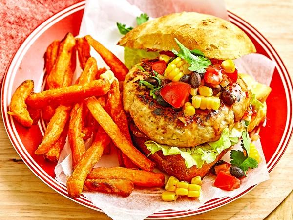 Chicken burgers with fresh corn salsa