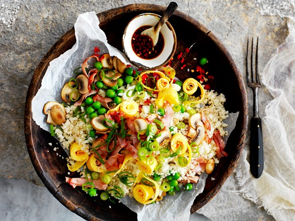 Cauliflower 'fried rice' with mushrooms and ham