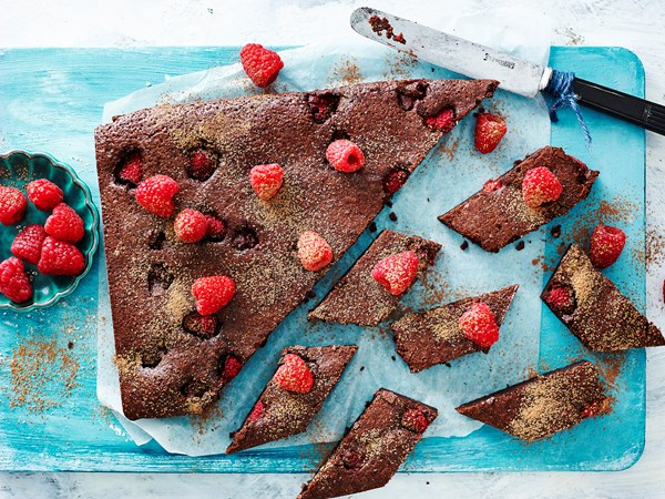 Gluten-free raspberry and chocolate brownies