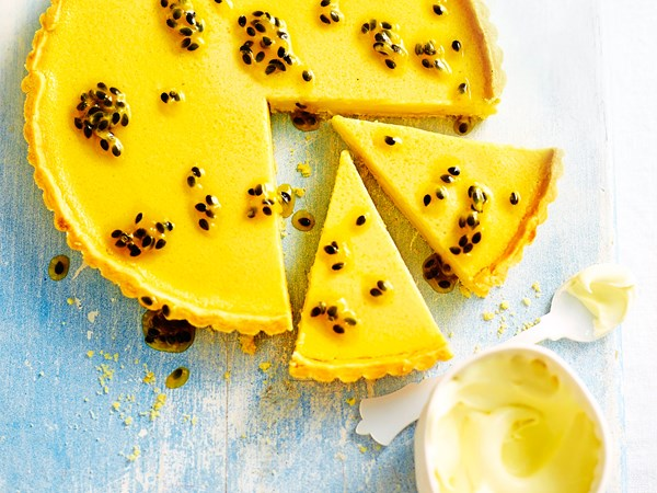 Zesty lemon and passionfruit tart