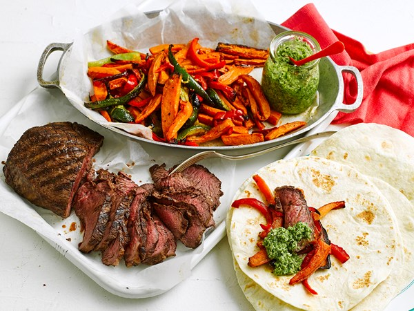 Seared steak and spiced vegie chips with pepita pesto