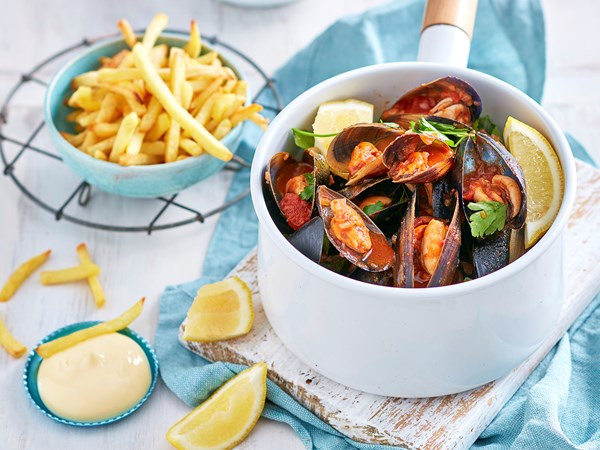 Quick and easy moules et frites