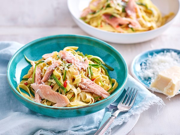 Smoked trout fettuccine