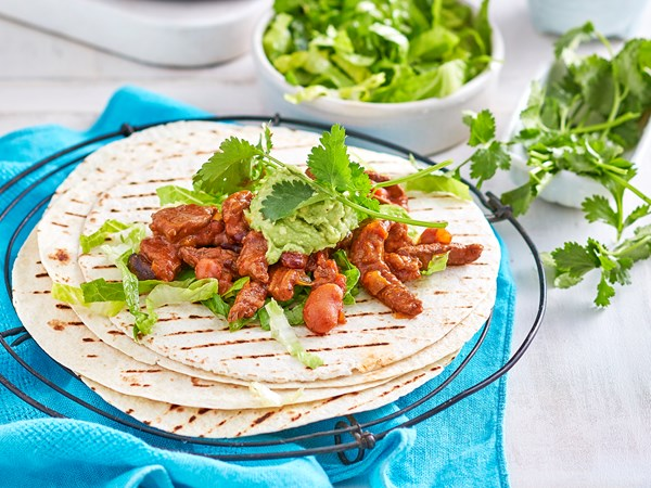Easy Mexican beef and bean fajitas