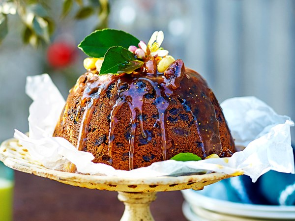 Macadamia and fig Christmas pudding