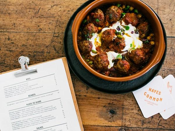 Hayes Common's pork and beef meatballs with potato dumplings