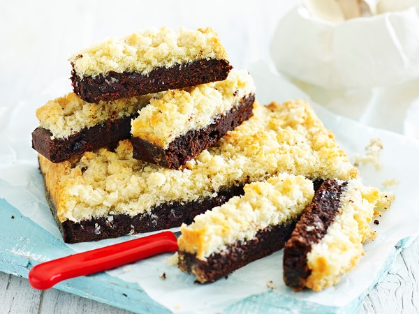 Chocolate slice with macaroon topping