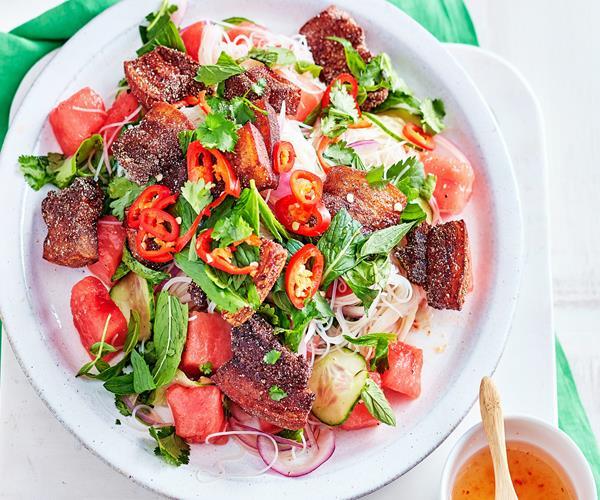 Crispy pork and watermelon salad recipe | Food To Love