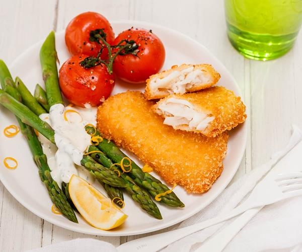 Fish with fresh asparagus and roasted tomatoes recipe for Fish and asparagus