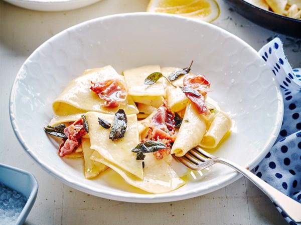 Maltagliati, pancetta and sage