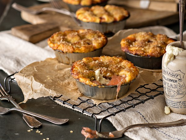 Sugar-crusted rhubarb and apple pies