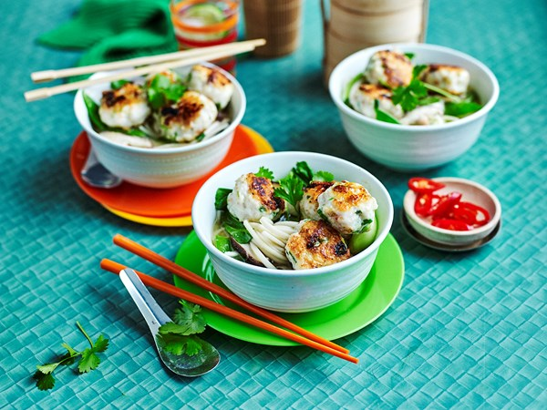 Prawn and fish balls with ginger broth and noodles