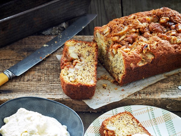 Banana cake with walnut toffee topping