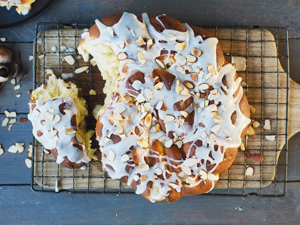 Pear and almond Danish twist