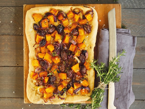 Pumpkin, onion and rosemary focaccia