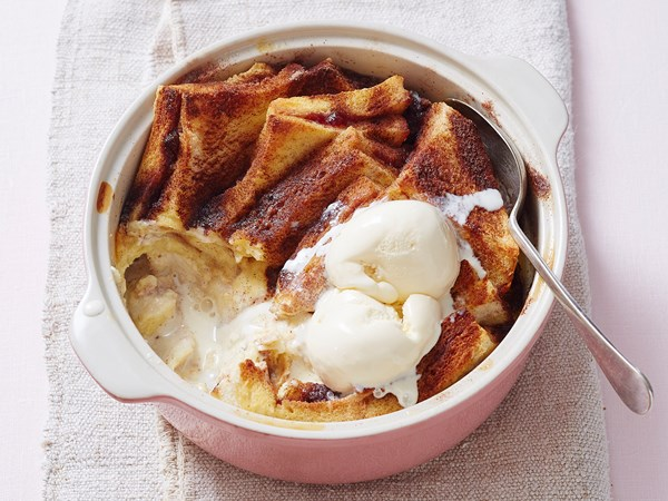 Bread and butter pudding with strawberry jam