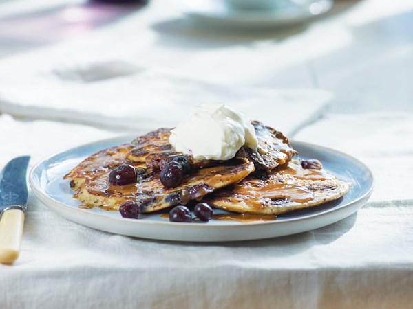 Ricotta almond pancakes with blueberries and yoghurt