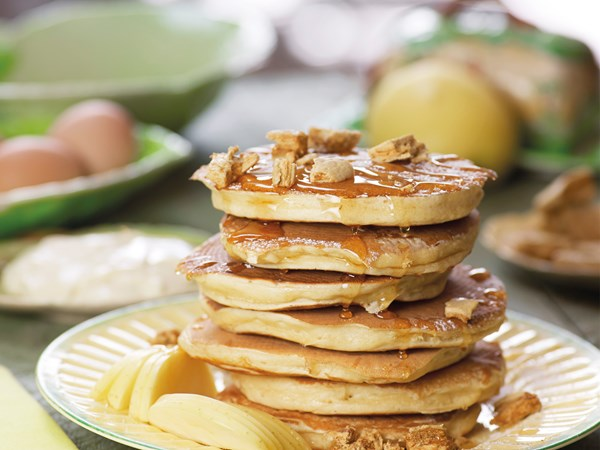 Pancake stack with manuka honey and hokey pokey