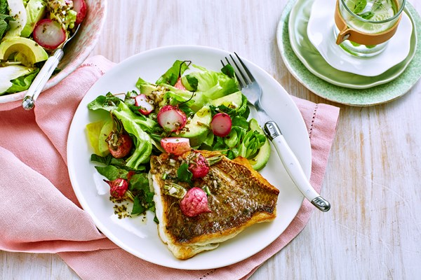 Roasted radish salad with grilled snapper