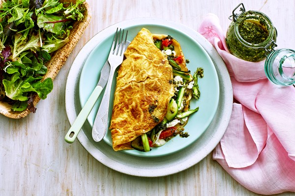 Spring vegetable omelettes
