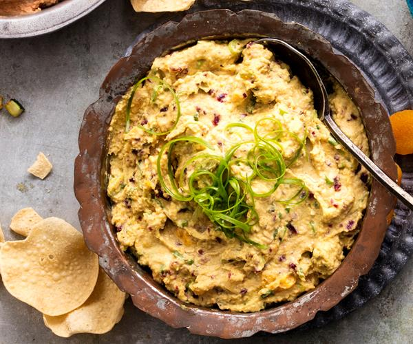 Curried Hummus Dip Recipe with Apricots and Craisins recipe | Food To ...