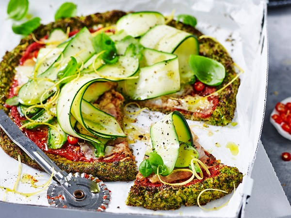 Broccoli 'pizza' with zucchini salad